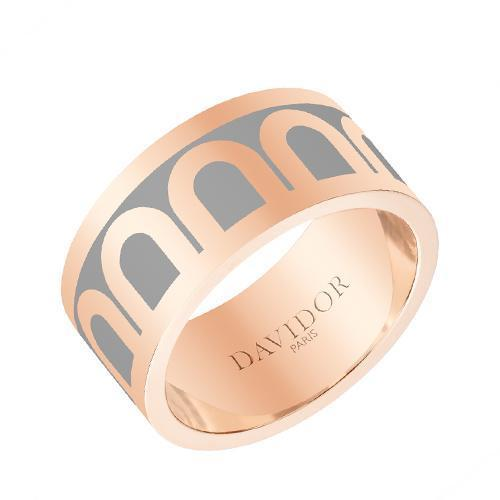 Men's L'Arc de DAVIDOR Ring GM, 18k Rose Gold with Lacquered Ceramic