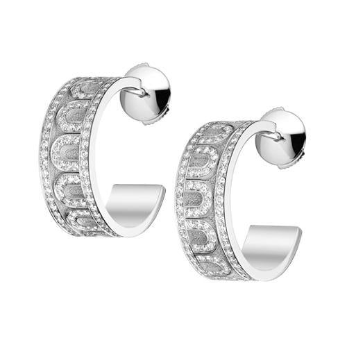 L'Arc de DAVIDOR Creole Earring PM, 18k White Gold with Satin Finish and Palais Diamonds