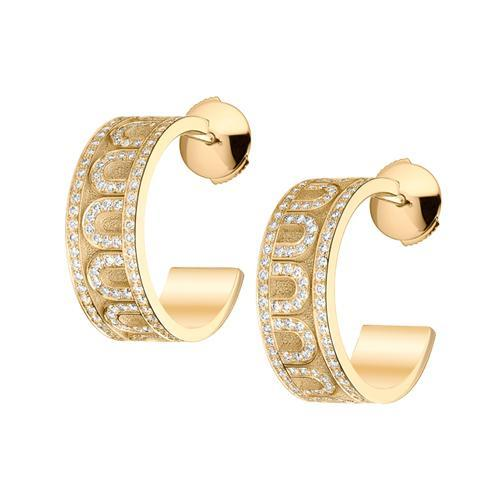 L'Arc de DAVIDOR Creole Earring PM, 18k Yellow Gold with Satin Finish and Palais Diamonds