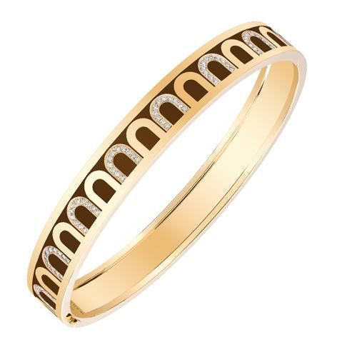 Men's L'Arc de DAVIDOR Bangle MM, 18k Yellow Gold with Lacquered Ceramic and Colonnato Diamonds
