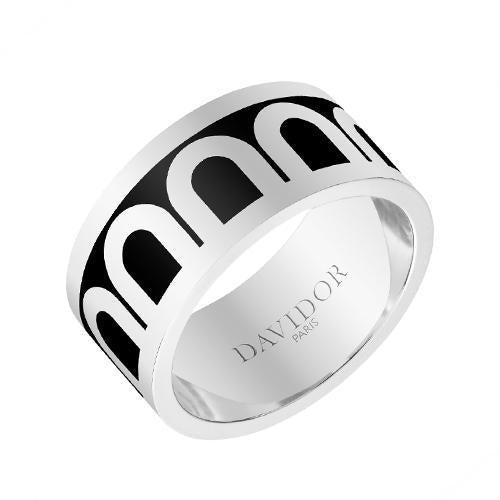 Men's L'Arc de DAVIDOR Ring GM, 18k White Gold with Lacquered Ceramic