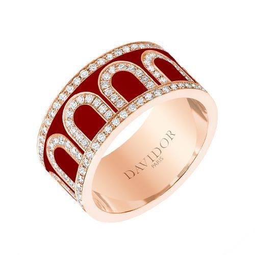Men's L'Arc de DAVIDOR Ring GM, 18k Rose Gold with Lacquered Ceramic and Palais Diamonds