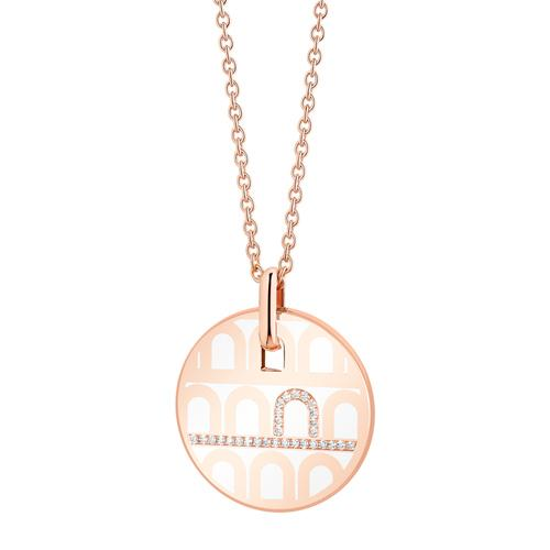 L'Arc de DAVIDOR Pendant GM, 18k Rose Gold with Lacquered Ceramic and Porta Diamonds