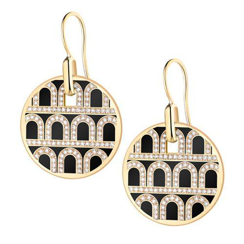 L'Arc de DAVIDOR Pendant Earring GM, 18k Yellow Gold with Lacquered Ceramic and Palais Diamonds