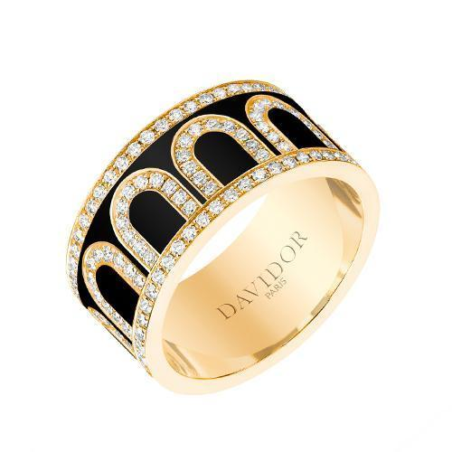 L'Arc de DAVIDOR Ring GM, 18k Yellow Gold with Lacquered Ceramic and Palais Diamonds