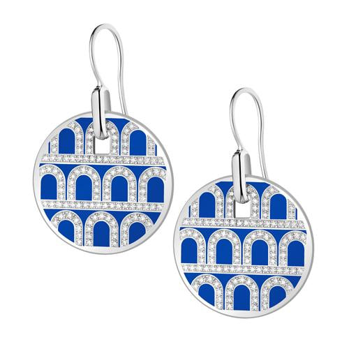 L'Arc de DAVIDOR Pendant Earring GM, 18k White Gold with Lacquered Ceramic and Palais Diamonds