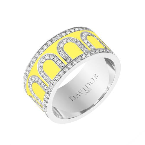 Men's L'Arc de DAVIDOR Ring GM, 18k White Gold with Lacquered Ceramic and Palais Diamonds