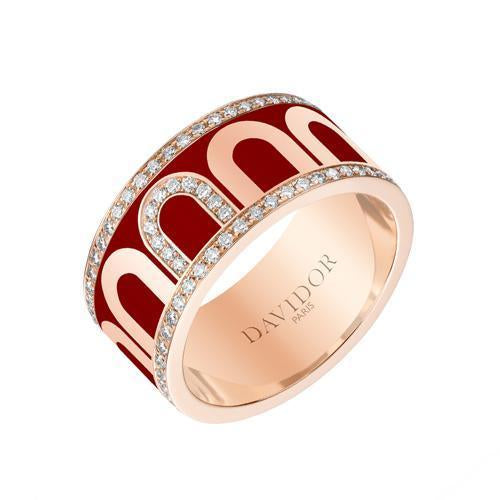 Men's L'Arc de DAVIDOR Ring GM, 18k Rose Gold with Lacquered Ceramic and Porta Diamonds