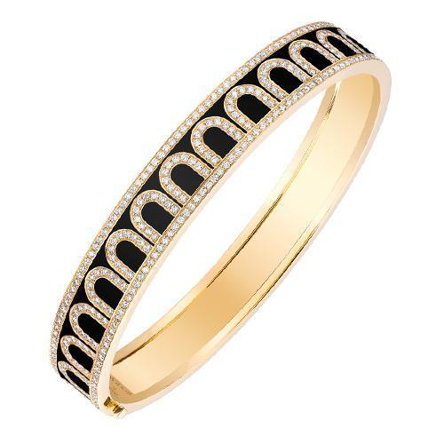 Men's L'Arc de DAVIDOR Bangle MM, 18k Yellow Gold with Lacquered Ceramic and Palais Diamonds