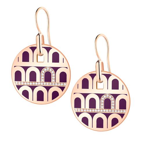 L'Arc de DAVIDOR Pendant Earring GM, 18k Rose Gold with Lacquered Ceramic and Porta Diamonds