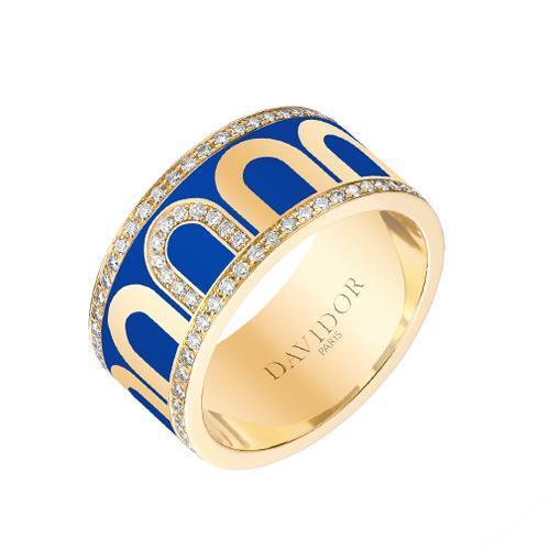 L'Arc de DAVIDOR Ring GM, 18k Yellow Gold with Lacquered Ceramic and Porta Diamonds