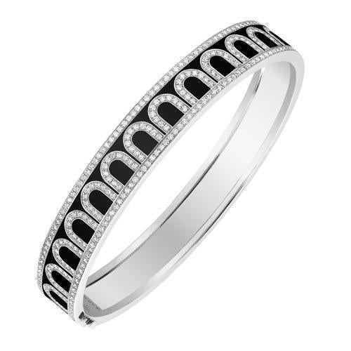 L'Arc de DAVIDOR Bangle MM, 18k White Gold with Lacquered Ceramic and Palais Diamonds