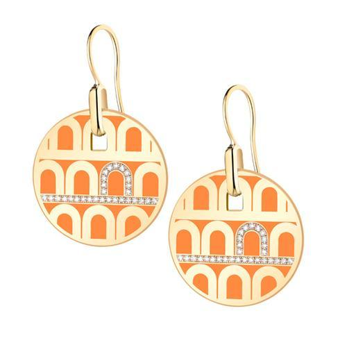 L'Arc de DAVIDOR Pendant Earring GM, 18k Yellow Gold with Lacquered Ceramic and Porta Diamonds