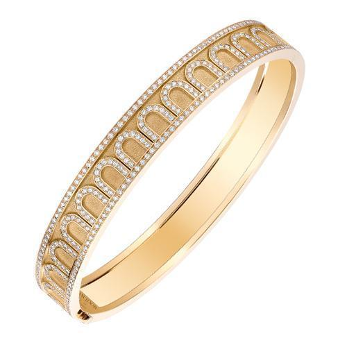 L'Arc de DAVIDOR Bangle MM, 18k Yellow Gold with Satin Finish and Palais Diamonds