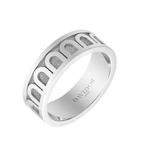 Men's L'Arc de DAVIDOR Ring MM, 18k White Gold with Satin Finish