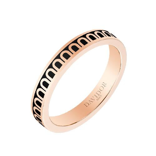 Men's L'Arc de DAVIDOR Ring PM, 18k Rose Gold with Lacquered Ceramic