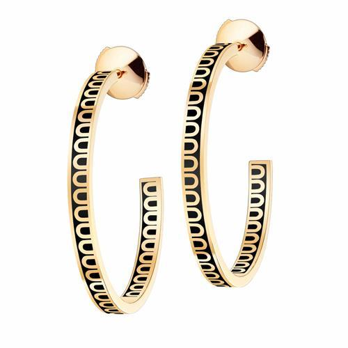 L'Arc de DAVIDOR Creole Earring MM, 18k Yellow Gold with Lacquered Ceramic
