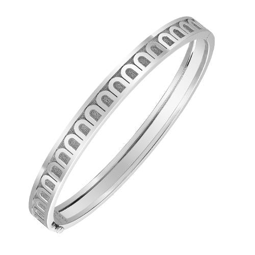 Men's L'Arc de DAVIDOR Bangle PM, 18k White Gold with Satin Finish