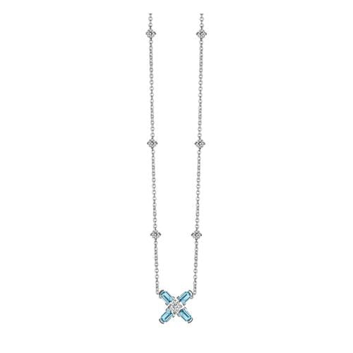 Arch Florale MM Necklace, 18k White Gold with DAVIDOR Arch Cut Aquamarines and Brilliant Diamonds