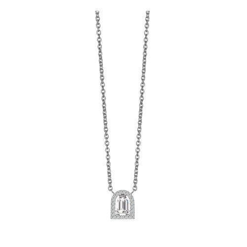 Diamant Sculptural Pendant Necklace, 18k White Gold with DAVIDOR Arch Cut Diamond and Brilliant Diamonds