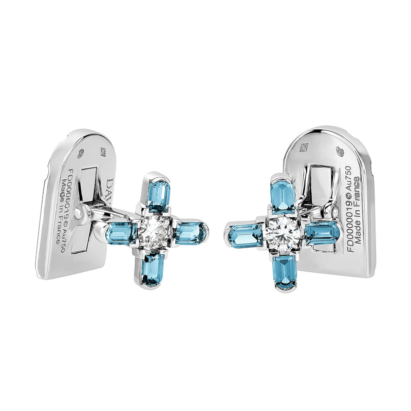 ARCH FLORALE MM Cufflinks, 18K WHITE GOLD WITH DAVIDOR ARCH CUT AQUAMARINE AND BRILLIANT DIAMONDS