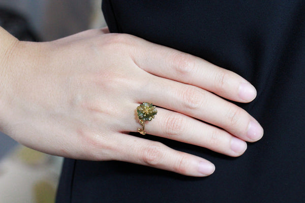 La flor 18K yellow gold tourmaline ring