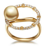 Bouquet South Sea pearl diamond ring