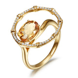 Bouquet orange topaz diamond ring