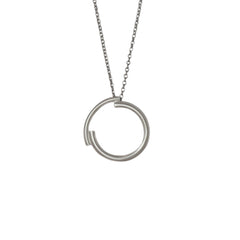 Minimalist Silver Circle Necklace
