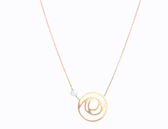 . Rose pearl gold necklace