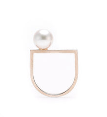 . Pearl semi gold ring