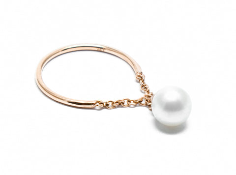 . Pearl drop gold ring