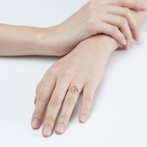 Rose pearl gold ring