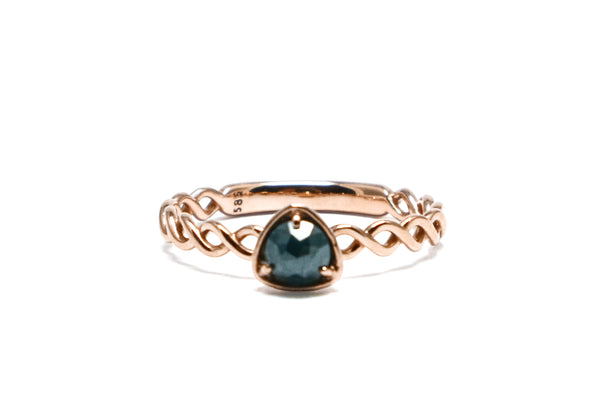 Blue diamond twist ring