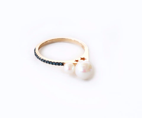 Star tears pearl gold ring
