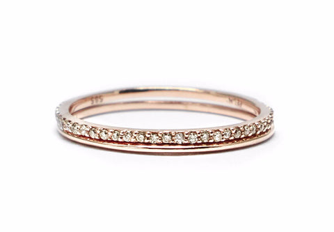 Champagne diamond gold ring set