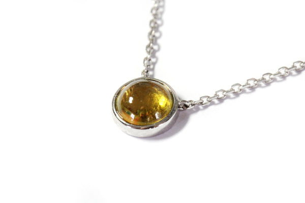 White gold yellow tourmaline necklace