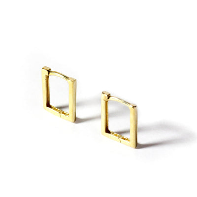 LYC 14K gold petite square ear huggies