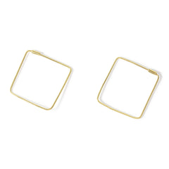 . LYC 14K gold square hoops earrings