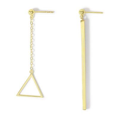 14K Asymmetrical Triangle Earrings - MOVIDA