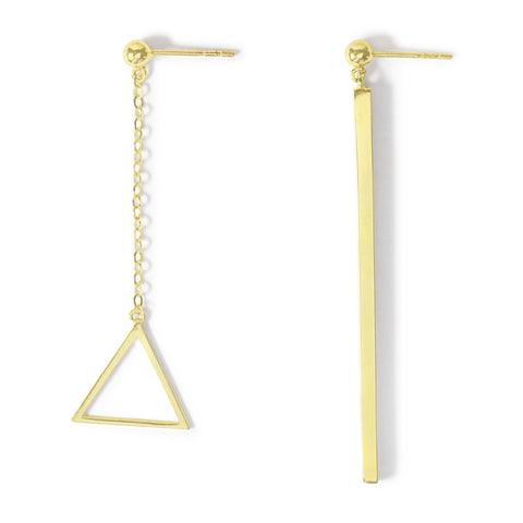 .LYC 14K gold asymmetrical triangle earrings