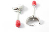 Sterling silver zircon coral earrings