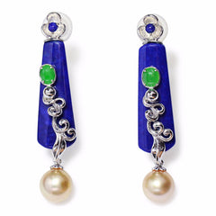 Lapis lazuli South Sea peal earrings