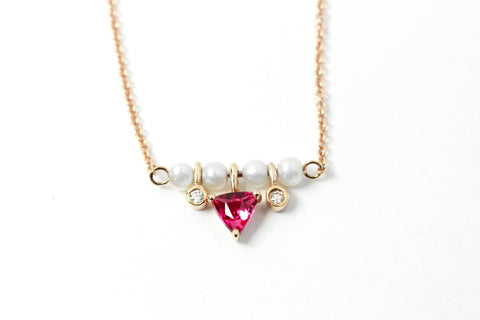 Alma rubellite pearl necklace