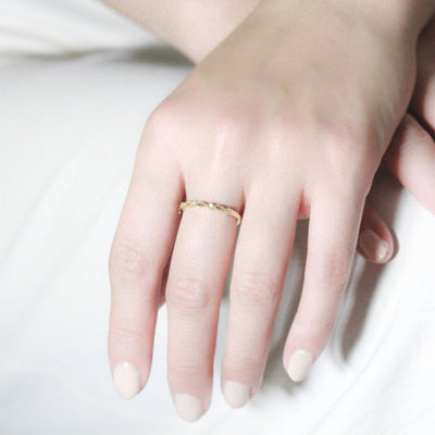 .FE-EVER 18K yellow gold diamond ribbon ring