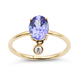 Yellow gold tanzanite diamond ring