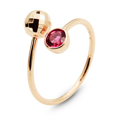 Alma rubellite gold ring