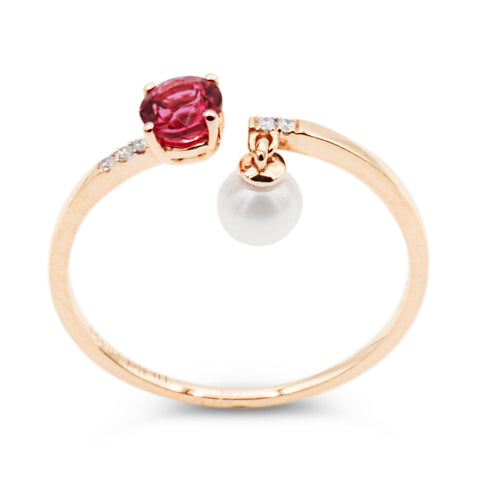 Alma rubellite dangle pearl ring