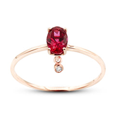 Alma rubellite diamond ring