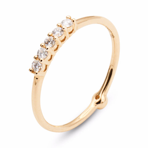 .FE-EVER 18K 2-way yellow gold diamond ring